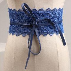 欧美复古镂空蕾丝花边绑带蝴蝶结宽腰带 女士装饰连衣裙腰封批发 蓝色 花边宽的位置长70厘米