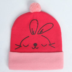 Korean version of the new baby wool cap rabbit sty red 3-20 months