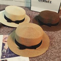 Spring and summer 100 take straw hat British retro Light coffee
