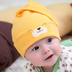 2017 new baby hood baby cotton sleeping cap new ba yellow All code 0 to 2 years old