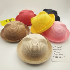 2018 new children`s cartoon straw hats 100 summer  Shallow coffee