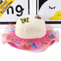 Summer new children`s straw hats 2-5 years old gir blue