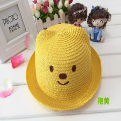 Korean version of the bear straw hat cartoon desig yellow The child`s head circumference is 52cm