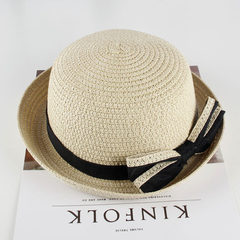 Children`s straw hat wholesale summer new style cu beige 49 cm