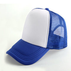 Spot wholesale summer net hat sun hat advertising  Sapphire blue + white The adjustable