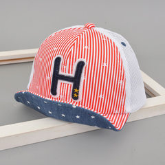 2018 new children`s H - letter net hat Korean vers Red net cap Ages 1 to 3