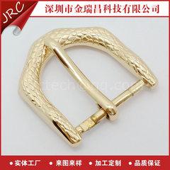 新款推荐 锌合金电镀金色蛇纹针扣供应 金属抹油腰带皮带扣头订做 来图来样定制