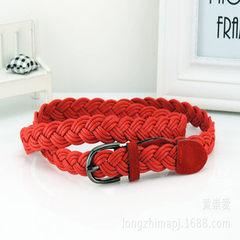 韩版小针扣时尚麻绳编织腰带女式皮带细皮带窄腰带装饰裙带 红色 80-100cm