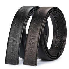 Al-italian leather men automatic buckle belt strap AL - black