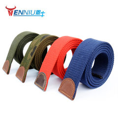 Men`s thickened canvas belt customized wholesale t red