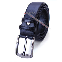 Business casual men`s leather belt abrasion-resist 4.0 matching gold pin buckle with black belt