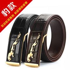 Origin of goods without alligator belt men busines Jaguar [PA125 black silver buckle] 100-135 cm