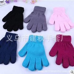 2018 new products warm knitting pure color gloves  cyan