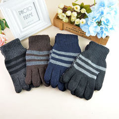 Men`s classic striped gloves winter added fleece w Mixed color