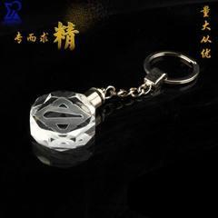 发光led水晶钥匙扣内雕挂件定制  广告促销公司同学聚会纪念礼品 长30*宽30*高11mm