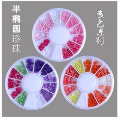 日系美甲饰品 波西米亚宝石树脂椭圆圆形不同大小指甲DIY装饰 zp-22粉色系