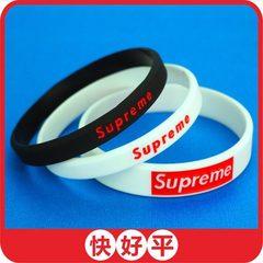 【大量返单】现货潮牌supreme硅胶手环  硅胶手腕带手镯胶圈定做 A款黑色