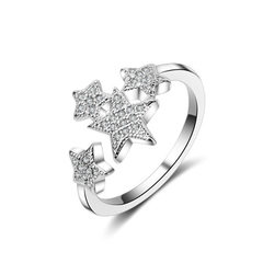 Korea`s version of fashion with a star full diamon White gold Adjustable opening