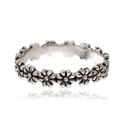 European and American vintage sun flower rings exa The ancient silver No. 5