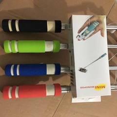 厂家直销新款带线控自拍杆自拍杆手机通用迷你不锈钢自拍神器 红色