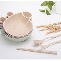 Xingjun wheat straw piglet page bowl cute cartoon  Blue Nordic green