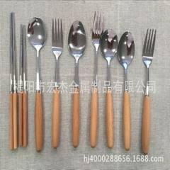 Stainless steel tableware wooden handle spoon fork
