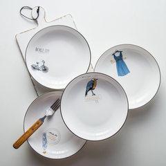 Japanese and Korean ceramic restaurant tableware d Deep dish, bird