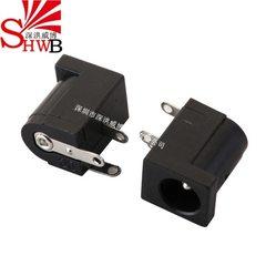 直流电源DC-005插座接口母头5.5*2.1mm圆针2.0平针DC电源母座三脚