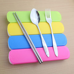 Portable draw-box stainless steel tableware set wi Bargain random color 1 Three-piece set of spoon, fork and chopsticks