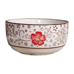 Blue and white porcelain bowl set manufacturers di Hand-painted cherry blossom red 6 bowls and 6 chopsticks (heaven and earth cover)