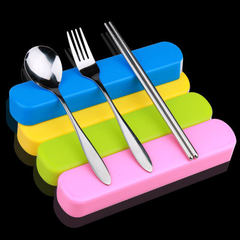 Creative stainless steel tableware portable set st Three-piece set of spoon, fork and chopsticks in a box