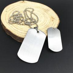 军牌小饰品军牌钛钢不锈钢男士项链欧美钛钢定制狗牌吊坠可定制 灰色 50*28*1.8mm