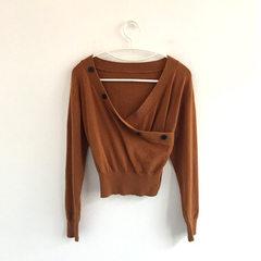 [han mijian] spring 2018 women`s single row button Coffee/sweater s