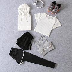 Four seasons yoga suit sports suit women running s White long + white short + word grey bra.+ pure black pants + white false pair s