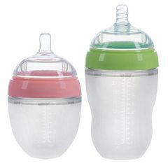 奶瓶OEM生产厂家批发婴儿硅胶奶瓶超大宽广口径防胀气带手柄吸管 150ML绿色不带手柄吸管