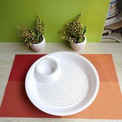 创意塑料饺子盘 塑料 沥水双层盘 带醋碟水饺盘子控水果盘B J004-1大号27cm