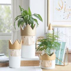 北欧士兵水泥花盆植物器皿花园阳台花盆饰品客厅装饰落地式摆件 A款+10支桔梗花