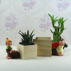 Meaty wooden flowerpot zakka grocery retro wooden  Small size 8.5 * 8.5 * 7.5 CM