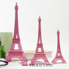 Zakka color pink Eiffel Tower Paris tower metal mo pink 18 cm with box