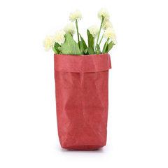 批发北欧风创意家居用品可水洗牛皮纸收纳袋 INS多肉花盆干花摆件 红色 8*8*15CM