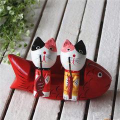 ZAKKA北欧工艺品摆件 大中小型号情侣猫套装木制彩绘小猫钓鱼 小号整体长15cm高10cm