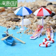 苔藓微景观摆件 浆小船船瞄沙滩椅 海景摆件 DIY组装摆件配件素材 蓝色小船