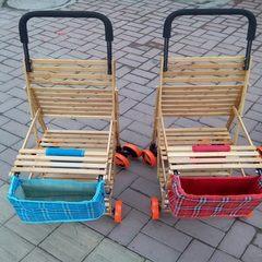 Baby bamboo woven bamboo cart four-wheel baby arti blue