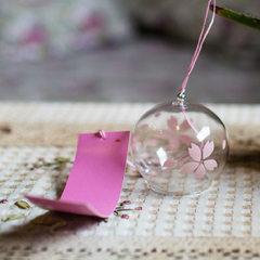 春游生日礼物玻璃日式风铃挂饰创意家居小装饰品夜市地摊旅游景点 白樱花白绳