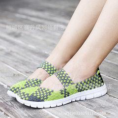 大码42夏季手工编织鞋女鞋韩版妈妈透气凉鞋运动休闲单鞋一件批发 绿色 35