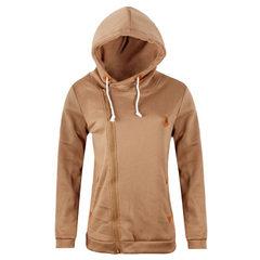 跨境货源亚马逊ebay wish 爆款 运动衫开衫连帽外套 卫衣女OM1035 卡其色 S