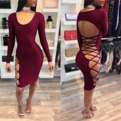 Amazon wish sexy low-cut nightclub dress, European Wine red s