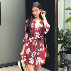 2018 new hot style summer print short skirt Korean Wine red s