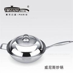 不锈钢炒锅 三层复合钢无涂层不粘 厨房用品 炉具通用 家用 不锈钢本色 电木柄