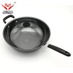 厂家直销吉万利炒锅 新一代真不锈无油烟无涂层不锈铁锅厨房用品 32cm